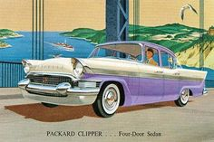 An advertising postcard to promote a new car, the Packard Clipper. A four door…