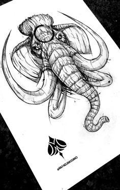 Blackwork mammoth sketch by Sketch Tatto, Tattoo Drawings, Body Art Tattoos, Sleeve Tattoos, Art Drawings, Elephant Art, Elephant Tattoos, Animal Tattoos, Animal Sketches