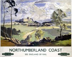 Box Canvas Print (other products available) - Poster, BR (NER), Northumberland Coast - Bamburgh and the Farne Islands, - Image supplied by National Railway Museum - inch Box Canvas Print made in the UK Posters Uk, Train Posters, Railway Posters, Online Posters, Illustrations And Posters, Poster Prints, Retro Posters, Warkworth Castle, Northumberland Coast