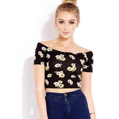 Sale!! Sunflower Off-the-Shoulder Crop Top No tags but never been worn. Slightly to tight for me. Forever 21 Tops Crop Tops