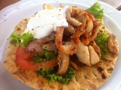 Homemade Chicken Gyros with Pita bread and Tzatziki