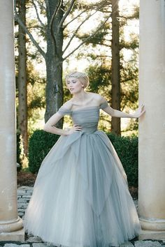 Off The Shoulder Slate Gray Ball Gown by Sareh Nouri Bridal 2014