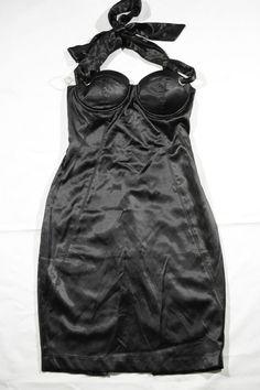 Dress by Misope Black Corset Halter Pencil Clubwear Fitted Bondage Sz L #Misope #Corset #LittleBlackDress