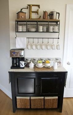 DIY Home Coffee Bar Inspiration... WANT THIS!!! Great blog post with how to get this setup...