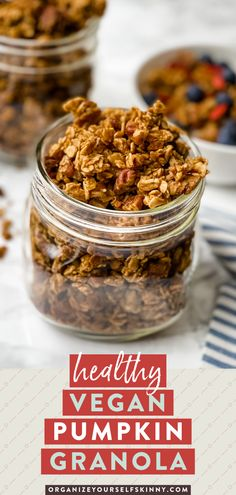 This Pumpkin Granola is everything Fall dreams are made of. Each bite is filled with crunchy pecans, maple, and all the flavors of pumpkin spice. It's delicious and addicting! Enjoy this perfect healthy breakfast or snack recipe sprinkled on top of yogurt, in a bowl with milk, or with a side of fruit. Organize Yourself Skinny Healthy Meal Prep Recipes | Healthy Snack Recipes | Healthy Weight-Loss Recipes Healthy Breakfast Smoothies, Easy Healthy Breakfast, Healthy Meals For Kids, Healthy Snacks For Kids, Healthy Food, Healthy Eating, Pumpkin Granola, Vegan Pumpkin, Pumpkin Recipes