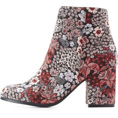 Qupid Floral Brocade Ankle Booties ($30) ❤ liked on Polyvore featuring shoes, boots, ankle booties, multi, block heel ankle boots, ankle length boots, block heel boots, brocade boots and floral booties