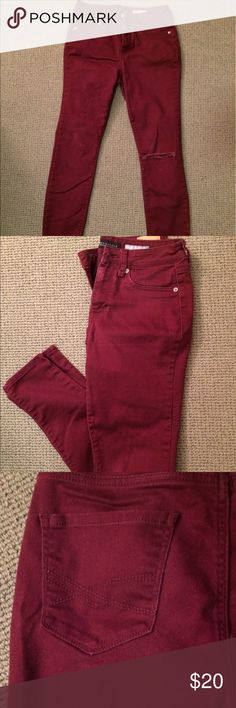 Burgundy High Waisted Jeggings by Aéropostale Cute and comfy Jeggings by Aéropostale. Ripped jeans on left knee (looks pretty rad). Very soft jeans (70% Cotton) Price could be negotiable! Aeropostale Jeans Skinny