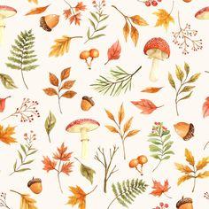 Autumn Illustration, Watercolor Illustration, Watercolour, Fall Wallpaper, Wallpaper Backgrounds, October Wallpaper, Wallpapers, Pink Wallpaper, Floral Fabric