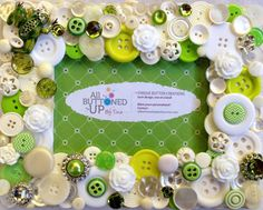 Each Picture Frame is a one of a kind creation. Vintage buttons are layered to create a three dimensional, layered effect. In addition to vintage buttons, vintage jewelry has been added for additional sparkle!  Buttons are combined in color stories to make a cohesive, pulled together look. This frame is a combination of White and Lime Green Buttons and is accented with Rhinestones. The Vintage pin is a cute Green Frog with Rhinestone eyes.