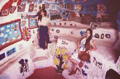 Salvation  Mountain, Boho photoshoot, maxi skirt hat, boots , crochet, hippie, middle of desert, cave  http://stylefuel.blogspot.com/