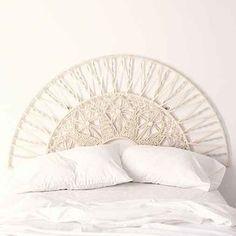 Magical Thinking Sol Macrame Headboard- White Full/queen