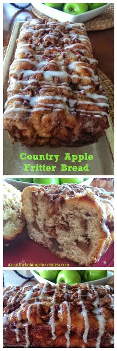 Awesome Country Apple Fritter Bread - You cannot resist.once you start smelling the succulent apple fritter bread aroma filling the air while it's baking.it's pretty much over. Click through (Apple Recipes With Biscuits) Low Carb Dessert, Dessert Bread, Weight Watcher Desserts, Kolaci I Torte, Think Food, Comfort Food, Monkey Bread, Sweet Bread, Yummy Food