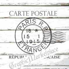French Stamp Carte Postale Paris Instant Download French Transfer Fabric Stencil digital sheet graphic printable No. 689 on Etsy, $1.00