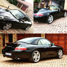 996 Carrera 4 cabriolet. Beautiful in black and Carrera S wheels. #996 #carrera #carrera4 #cabrio #porsche #911