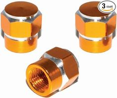 """(3 Count) Cool and Custom """"Short Two Tone Hexagon with Easy Grip Shape"""" Tire Wheel Rim Air Valve Stem Dust Cap Seal Made of Genuine Anodized Aluminum Metal {Honey Hyundai Gold and Silver Colors - Hard Metal Internal Threads for Easy Application - Rust Proof - Fits For Most Cars, Trucks, SUV, RV, ATV, UTV, Motorcycle, Bicycles}"""