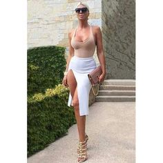 New Fashion Women 2 PCS Sexy Deep V-neck Irregular Sleeveless Top Khaki Slit Casual Dress White New Fashion, Fashion Women, White Shorts, Bodycon Dress, Sporty, V Neck, Deep, Casual, Collection