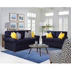 You'll adore the casual comfort you'll get from this Sunbrella Navy Queen Sleeper Sofa! A resilient spring foundation provides an extra level of support, and the loose back cushions, simple rolled arms and down-blend throw pillows complete the package. Mustard Living Rooms, Navy Living Rooms, Classy Living Room, Living Room Decor Colors, Living Room Designs, Living Room Flooring, Living Room Sofa, Home Living Room, Blue And Yellow Living Room