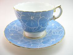 Cauldon Tea Cup and Saucer Blue  tea cup and by BeadsbyVince