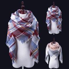 New Fashion Winter Scarf Luxury Brand Women Warm Scarf Blanket Oversized Plaid Cashmere Scarf Women Pashmina Triangle bandage