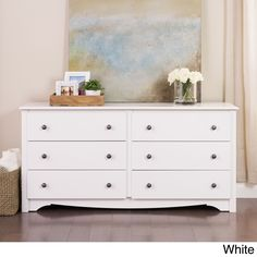 Get your clothes out of cramped quarters and into the Monterey 6 Drawer Dresser. Its 6 drawers will accommodate your growing wardrobe, and the scalloped kick plate will satisfy your craving for a hint of flair.