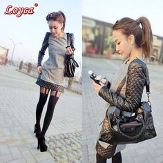 Black leather sleeves slim women winter dress long-sleeve warm patchwork elegant women casual dress 2014 new fashion BYM9046#