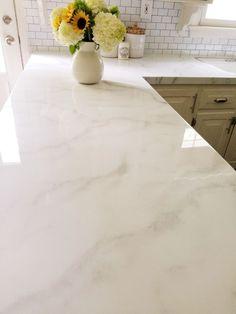 Faux Marble Countertop, Epoxy Countertop, Painting Countertops, White Countertops, Backsplash, Painting Kitchen Counters, Types Of Kitchen Countertops, Countertop Makeover, Diy Plate Rack