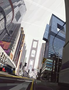 in a city with Alberto Mielgo - cities - illustration