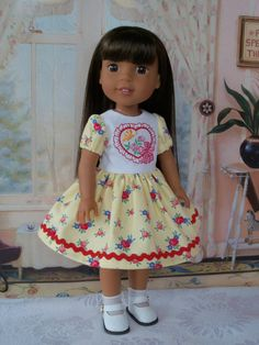 "Embroidered Dress and Shoes for Wellie Wishers® or other 14"" Doll / Doll Clothes for Wellie Wishers®"