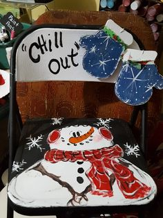 Child size Metal folding chair with painted snowman Christmas Snowman, Christmas Crafts, Christmas Decorations, Christmas Ornaments, Christmas Ideas, Painted Kids Chairs, Painted Pots, Snowmen Pictures, Metal Folding Chairs