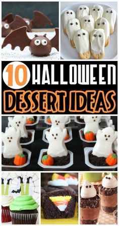 Darling {and delicious} Halloween treats and desserts. They look easy too! We've rounded up 50 fun Halloween foods including Halloween food ideas for breakfast, lunch, dinner, snacks, AND dessert! Halloween Desserts, Halloween Baking, Halloween Goodies, Theme Halloween, Halloween Food For Party, Halloween Birthday, Halloween Cupcakes, Holidays Halloween, Spooky Halloween