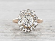 2.10 Carat Edwardian Cluster Engagement Ring - thinner band and no yellow gold