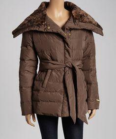 Loving this Brown Faux Fur Down Puffer Coat - Women on #zulily! #zulilyfinds