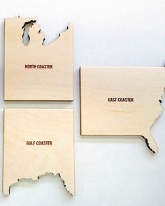 Coast to Coast  These tongue-in-cheek drink coasters have every inch of shoreline covered.