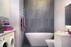 Badrum - Kvarnholmen. Tvättmaskin och torktumlare i badrummet. Stacked Washer Dryer, Washer And Dryer, Bathroom Inspiration, Laundry, Bathtub, Home Appliances, Google, Pictures, Sevilla Spain