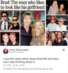 Someone on Social Media Just Noticed That Brad Pitt Tried to Look Like The One He's Dating - Mix Ping Funny Shit, Stupid Funny Memes, Funny Relatable Memes, Haha Funny, Funny Posts, Funny Cute, Hilarious, Funny Stuff, Funny Gifs