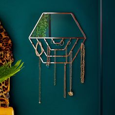 Shop our Hexagon Wall Mirror with Hanging Jewellery Organiser for an elegant way to store, display, and organise your jewellery and accessories. Wood Jewelry Display, Jewelry Wall, Jewelry Mirror, Jewelry Hanger, Jewellery Display, Jewelry Armoire, Jewellery Photo, Kids Jewelry, Wooden Jewelry