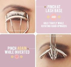 Get the most out of your lash curler by pinching at the very base of  your lashes and then lifting the curler up into an inverted position. This creates double the curl and lasts much longer!