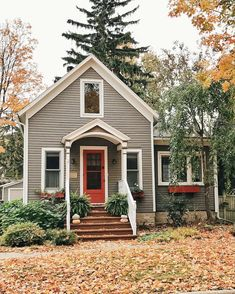 small house | grey & red exterior