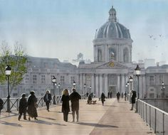 Thierry Duval was born in Paris, France. His watercolors are characterized by a strong light and precision in drawing, being almost or hyperrealist in the results mainly in his Paris watercolors. Watercolor City, Watercolor Artwork, James Holland, Paris In Autumn, Paris Painting, British Traditions, Watercolor Architecture, Dawn And Dusk, Urban Life