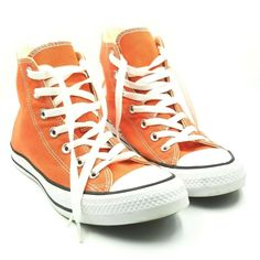 Converse All Star Chuck Taylor High Top Womens 8 Mens 6 Orange #Converse Orange Converse, Converse All Star, Converse High, High Top Sneakers, Chuck Taylor Sneakers, High Tops, Couple, My Style, Photos