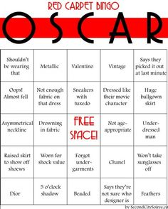Oscar Party - Red Carpet Bingo