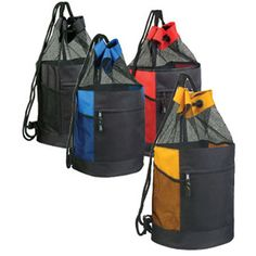 Drawstring Backpack...600 denier polyester with nylon mesh drawstring mesh backpack. Features drawstring top with front zippered pocket and 2 side mesh pockets.