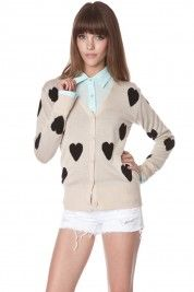 Lotta Love Cardigan $39  #shopsosie #cardigan #heart #love #cute #summer #fashion