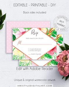 Tropical Wedding RSVP Card, with vivid and colorful watercolor tropical graphics for the lovers of the trendy exotic wedding style.This fascinating tropical wedding RSVP insert card is an instant download EDITABLE PDF pack so you can download it right away, DIY edit and print it at home or at your local copy shop by Amistyle Digital Art on Etsy Wedding Rsvp, Our Wedding, Destination Wedding, Wedding Ideas, Exotic Flowers, Tropical Flowers, Watercolor Wedding Invitations, Wedding Stationery, Exotic Wedding