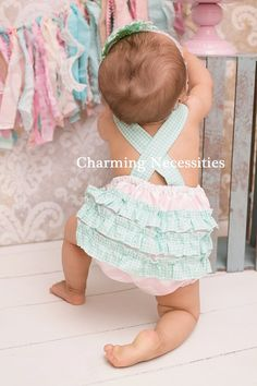 Baby Girl Sunsuit Romper Bubble with by CharmingNecessities,