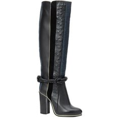 Lanvin Ostrich Leather Boot (2,965 CAD) ❤ liked on Polyvore featuring shoes, boots, black, black boots, round toe boots, leather boots, black leather boots and tall boots