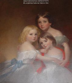 Longfellow's Three Daughters. Triple portrait showing Longfellow's three daughters: Annie Allegra aged about 4 to the right front; Edith aged about 6 to the left, and Alice Mary aged about 9 to the right rear. Item # 15475 on Maine Memory Network