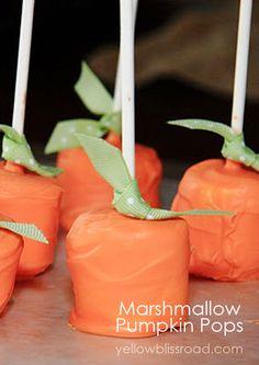 Pumpkin Marshmallow Pops - Yellow Bliss Road