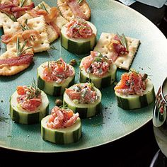 Smoked Salmon Salad in Cucumber Cups - Throw a Holiday Appetizer Party - Cooking Light Holiday Party Appetizers, Light Appetizers, Healthy Appetizers, Healthy Foods To Eat, Appetizer Recipes, Healthy Snacks, Healthy Recipes, Appetizer Party, Popular Appetizers