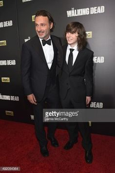 """Andrew and Chandler attend the AMC's """"The Walking Dead"""" Season 6 Fan Premiere Event at Madison Square Garden on October 2015 Carl The Walking Dead, The Walk Dead, Walking Dead Season 6, Walking Dead Memes, The Walking Dead 3, Chandler Riggs, Carl Grimes, Andrew Lincoln, Stuff And Thangs"""